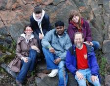 Lab group at habitat of Opuntia fragilis near Kaladar, Ontario. 2009 May 7 (photo: Tom Gemmill)