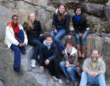 Lab group at habitat of Opuntia fragilis near Kaladar, Ontario. 2010 April 27 (photo: Taly Drezner)