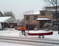 Morning Commute – 2011 Nov 23. Bicycle-Canoe commute (photo: Sue Bertram)